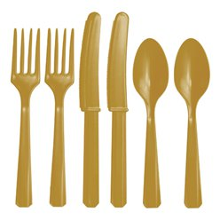 Gold Reusable Plastic Cutlery - Assorted 24pk