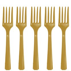 Gold Reusable Forks - 20pk