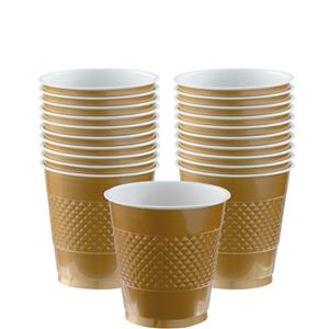 Gold Cups - 266ml Plastic Party Cups
