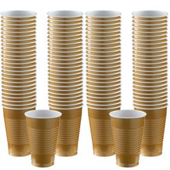 Gold Cups - 355ml Plastic Party Cups