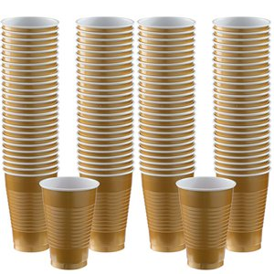 Plastic Cups 355ml 100pk (Gold)
