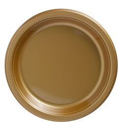 Gold Plates - 23cm Plastic Party Plates