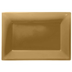 Gold Serving Platters - 23cm x 32cm Plastic