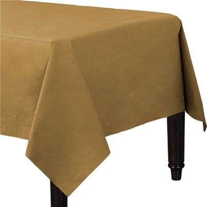 Gold Plastic Lined Paper Tablecover - 1.4m x 2.8m