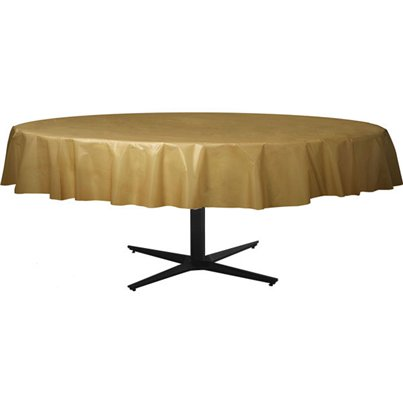 Gold Round Tablecover - Plastic - 2.1m