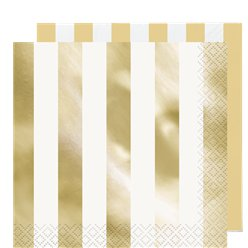 Metallic Gold Stripe Paper Napkins - 33cm