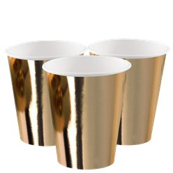 Gold Metallic Paper Cups - 250ml