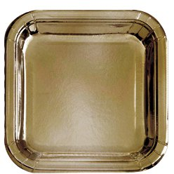 Gold Metallic Square Paper Plates - 23cm