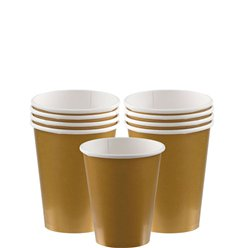 Gold Cups - 266ml Paper Party Cups