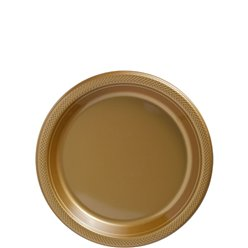 Gold Dessert Plates - 18cm Plastic Party Plates