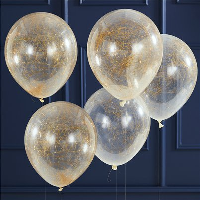 "Gold Glitter Angel Hair Confetti Balloons - 12"" Latex"