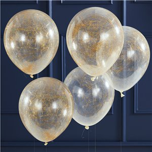 Gold Glitter Angel Hair Confetti Balloons - 12