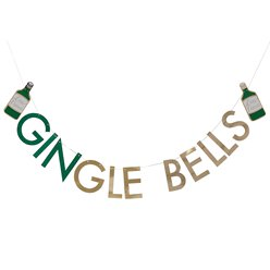Gold Glitter GINgle Bells Bunting - 2m