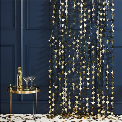 Gold Glitter Star Foil Backdrop Curtain - 2m
