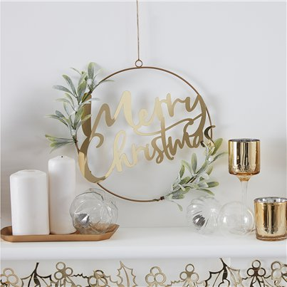 Gold Glitter Merry Christmas Hanging Foliage Wreath - 30cm