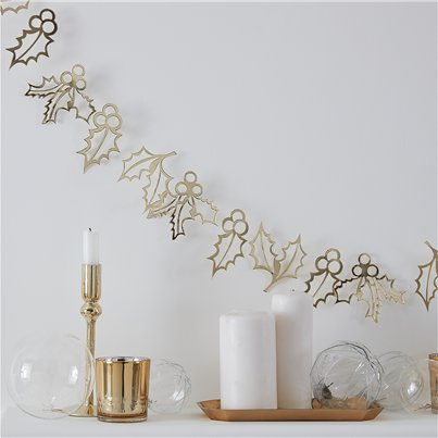 Gold Glitter Holly Garland - 2m