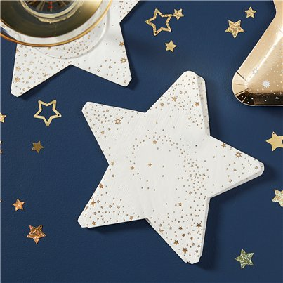 Gold Glitter Foiled Star Shaped Paper Napkins - 17cm