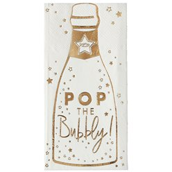 Gold Glitter Foiled Pop The Bubbly Paper Napkins - 16.5cm