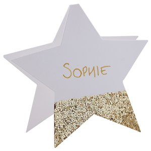 Gold Glitter Star Place Cards - 10cm