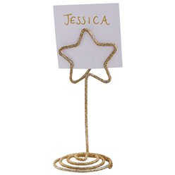 Gold Glitter Star Place Card Holders - 9cm