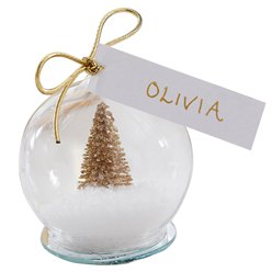 Gold Glitter Snow Globe Place Cards - 6cm