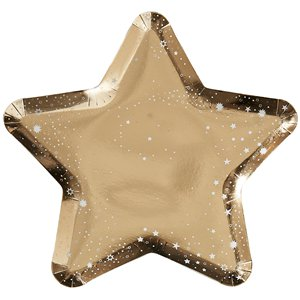 Gold Glitter Foiled Star Shaped Plates - 26cm