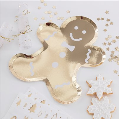 Gold Glitter Foiled Gingerbread Man Shaped Plates - 29cm