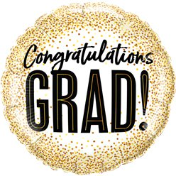"Graduations Gold Glitter Dots Balloon - 18"" Foil"