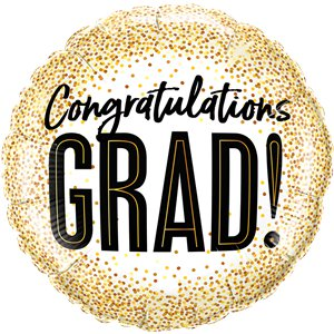 Graduations Gold Glitter Dots Balloon - 18