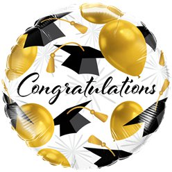 "Congratulations Gold Balloons Graduation Balloon - 18"" Foil"