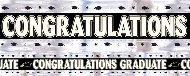 Black, White, Silver, Gold Graduation Foil Banner 2.7m