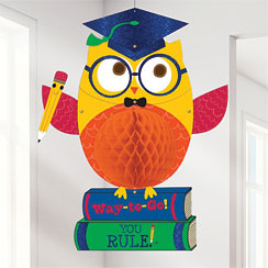Graduation Owl Honeycomb Hanging Decoration - 48cm