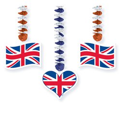 Union Jack Dangling Cutouts - 76cm Party Decorations