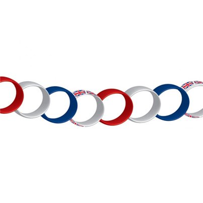 Union Jack Red, White & Blue Paper Chain Decoration - 7m