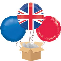 Union Jack Balloon Bouquet - Delivered Inflated