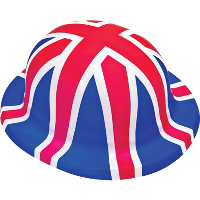 Union Jack Plastic Bowler Hat - Royal Wedding Street Party front