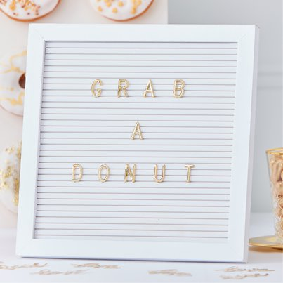 Gold Wedding White Peg Board With Gold Letters