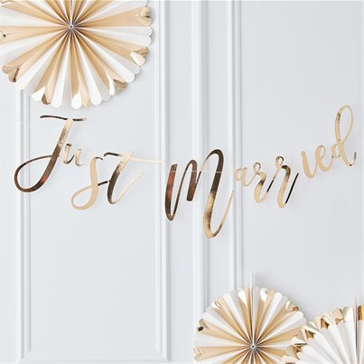 Gold Wedding Just Married Garland - 1.5m