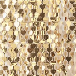 Gold Wedding Heart Foil Curtain Backdrop