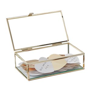 Gold Wedding Glass Guest Book Box With Hearts