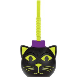 Spooky Cat Cup With Straw - 9cm