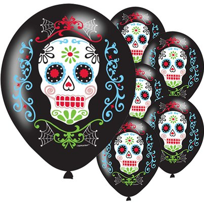 "Day of the Dead Balloons - 11"" Latex"