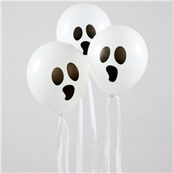 Ghost Balloons with Streamers - Latex