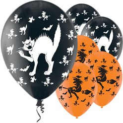 "Halloween Cats & Witches Balloons - 11"" Latex"
