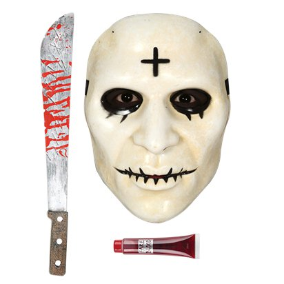 Cross The Purge Accessory Kit - Mask, Machete, Fake Blood - Halloween Fancy Dress Costume front