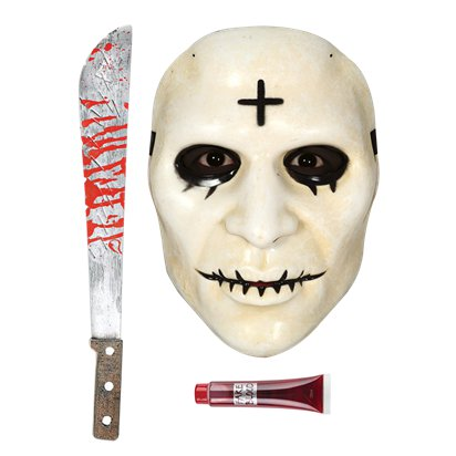 Cross The Purge Accessory Kit - Mask, Machete, Fake Blood - Halloween Fancy Dress Costume pla