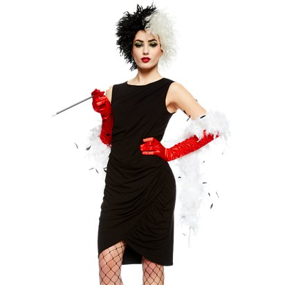 Cruella Deville Costume Accessory Kit - Women's Halloween Fancy Dress Costume Accessories front