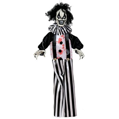 Animated Black & White Hanging Clown - 1m
