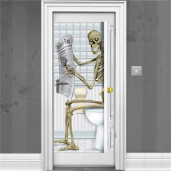 Skeleton Bathroom Door Decoration - 1.5m
