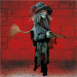 Cackling Witch on Broom - 1m